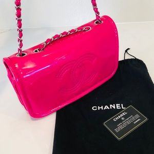 Hot Pink Chanel Large Flap Chain Leather Bag